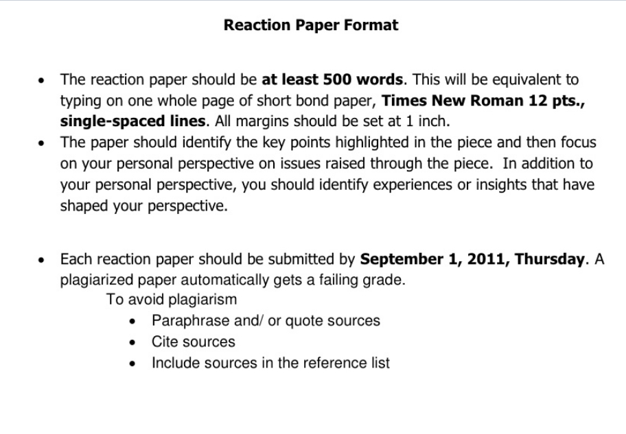 How To Write A Reaction Paper  What Is A Reaction Paper  Paperstime Example Reaction Paper Format