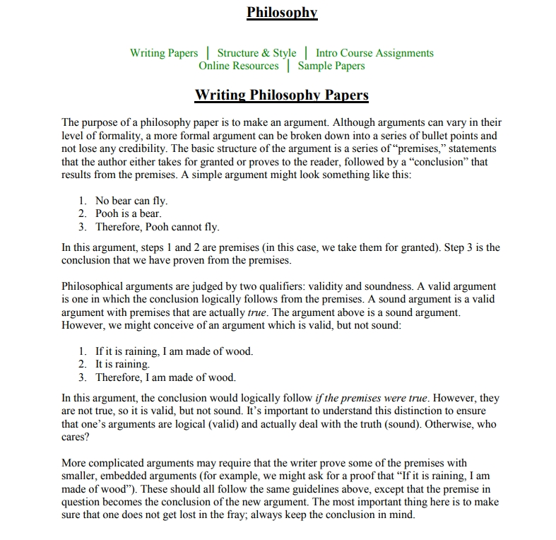 how to write a philosophy essay